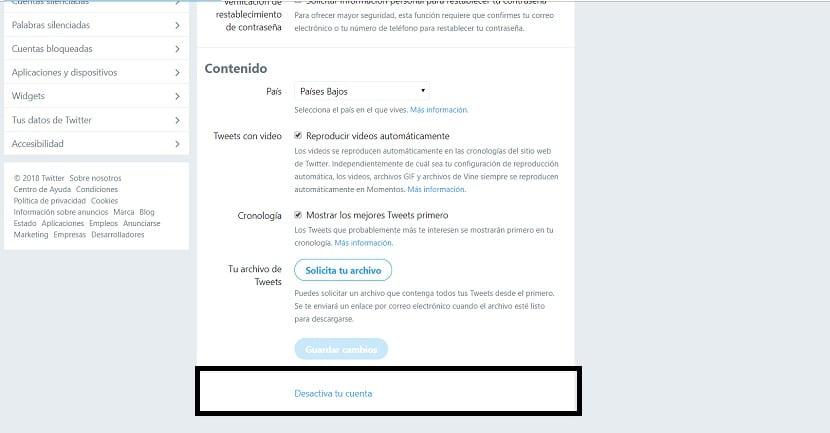 Desactivar la cuenta de Twitter